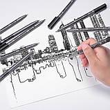 Капилярные лайнеры черные 9 шт STA для скетчей, набор капиллярных ручек для рисования (B091220), набор линеров, фото 4