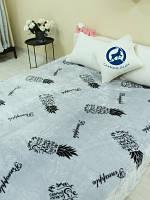 Покрывало микрофибра для кровати с рисунком Ананасы / плед Евро