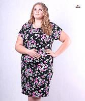 Платье батальное женское летнее с цветами 48-56р.