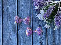Аппликация «силикон бантик» 4.5 х 6 см, 20 шт/уп. паетка сиреневые цветы