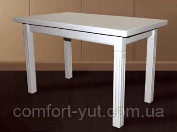 Стол Классик Люкс белый 120(+40)*75 обеденный раскладной деревянный