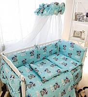 """Детское постельное белье в кроватку """"Эко"""", комплект постельного в кроватку 9 предметов"""