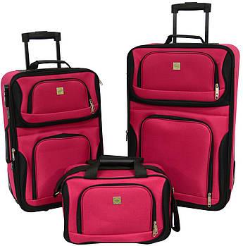 Набор чемоданов Bonro Best 2 шт и сумка вишневый (10080100)