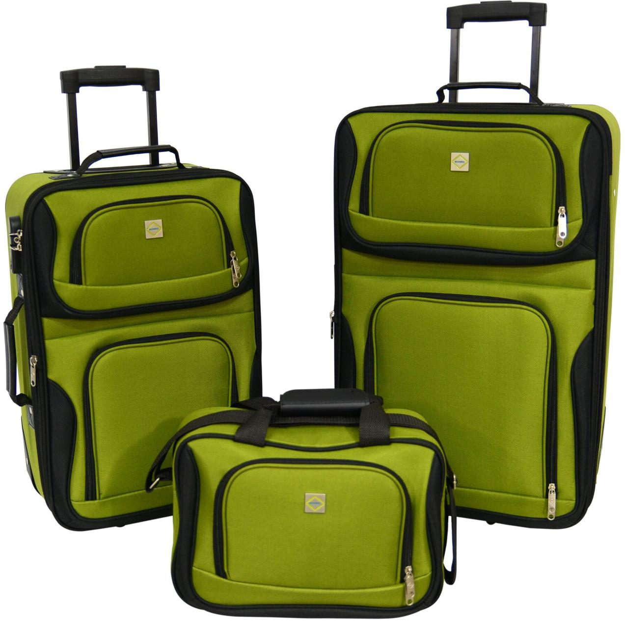 Набор чемоданов Bonro Best 2 шт и сумка зеленый (10080101)