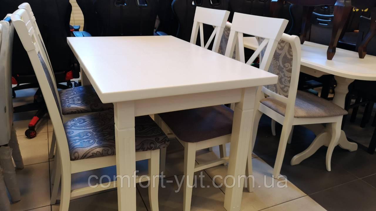 Стол Классик Люкс ваниль120(+40)*75 обеденный раскладной деревянный