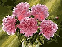 Розовые пионы в вазе - набор для рисования Menglei