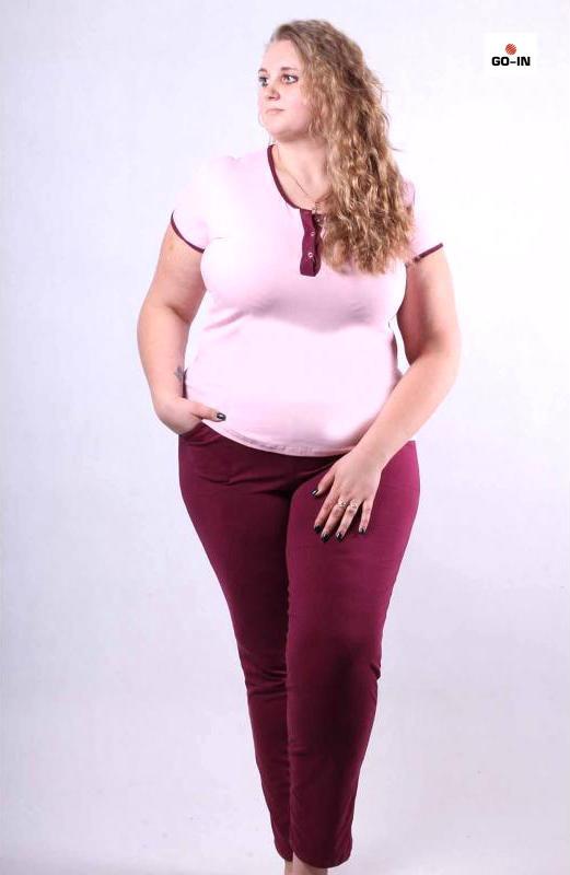 Пижама летняя женская бордовая футболка со штанами р42-54