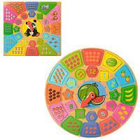 Деревянная игрушка Часы детские MD 1212  2вида, WOODY