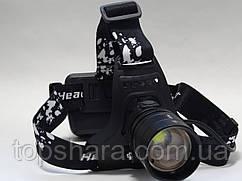 Фонарь налобный Police P53 – HP50 (ЗУ microUSB, zoom, 3x18650, павер банк) Black
