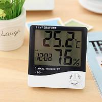 Часы Термометр HTC-1, цифровой термометр гигрометр, прибор для измерения температуры и влажности в помещении