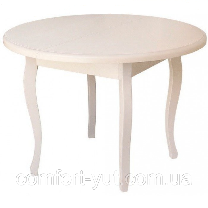 Стол круглый Элис ваниль 100(+40)*100 обеденный раскладной деревянный