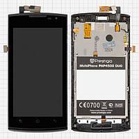 Дисплейный модуль (дисплей + сенсор) для Prestigio MultiPhone 4500 Duo, c передней панелью, оригинал