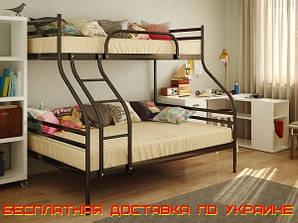 Металлическая двухъярусная кровать Смарт Smart 200(190)X140(120)/90 см. Метакам