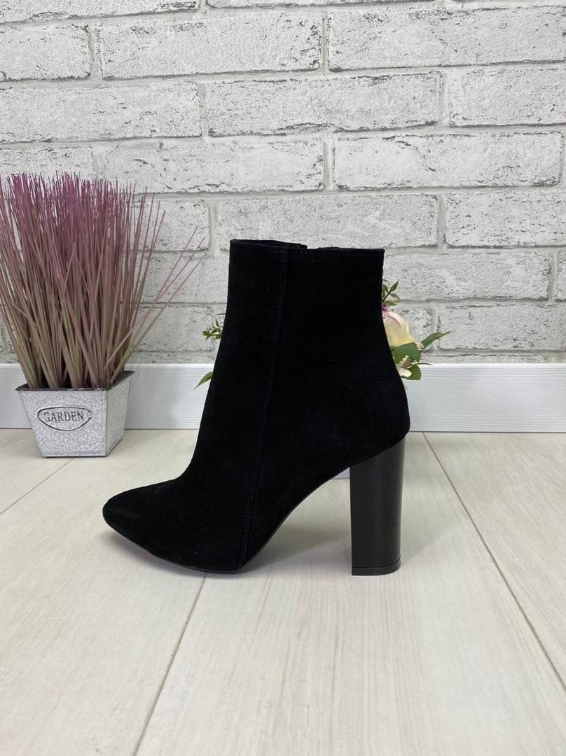 39 р. Ботинки женские деми черные замшевые на высоком каблуке, демисезонные, из натуральной замши, замша