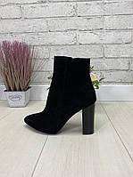 39 р. Ботинки женские деми черные замшевые на высоком каблуке, демисезонные, из натуральной замши, замша, фото 1