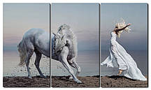 Модульна картина Дівчина і кінь Код: W1782