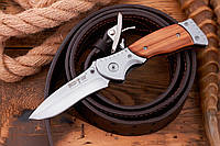 Нож складной (рукоять металл, дерево) E-21