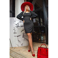 Классическое платье с шифоновыми рукавами Моника 44-50 размера черное
