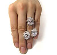 """Серьги и кольцо - серебряный набор с золотыми накладками """"Венец"""""""