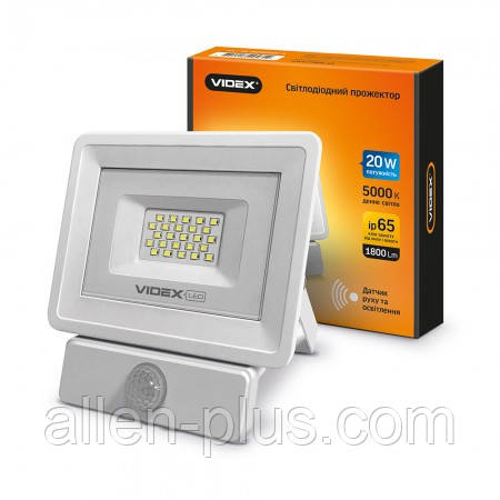 Прожектор LED VIDEX VL-Fe205W-S 20W 5000K 220V White (з регульованим датчиком руху і освітленості)