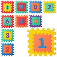 Коврик Мозаика M 5731 (10шт) цифры,10д(31,5-31,5-1см), 6текстур,массаж,пазл,микс цв,куль, 32-32-10см Н