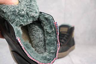 Мужские кеды кожаные зимние черные-оливковые CrosSAV 320, фото 3
