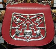 Красный кожаный мини-сэтчел через плечо от Prada. Original quality(зеркальная реплика). Сумочка кожаная.