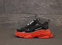 Женские кроссовки Balenciaga Triple S 31467 черно-красные, фото 1