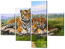 Модульна картина з частин Два тигра Код: W558