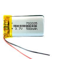 Аккумулятор 702035 Li-pol 3.7В 500мАч для RC моделей MP3 MP4 DVR GPS