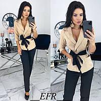 Костюм женский с брюками (3 цвета) ЕФ/-433 - Бежевый, фото 1