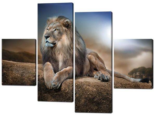 Модульная картина Лев на камне Код: W298