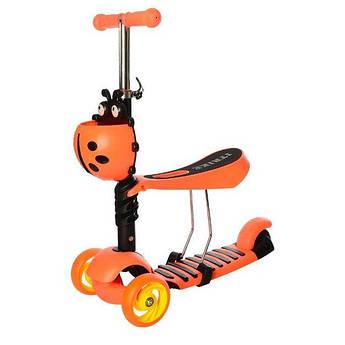 Детский самокат-беговел 3-х колесный с сиденьем и светящимися колесами (Оранжевый)