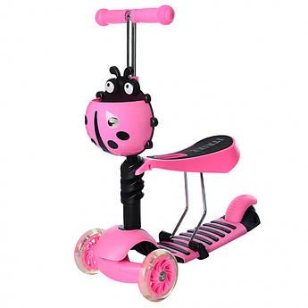 Детский самокат-беговел 3-х колесный с сиденьем и светящимися колесами (Светло-розовый)