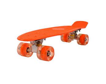 Детский скейт пенни-борд на подшипниках, антискользящий пластик, алюминиевая подвеска (Оранжевый)