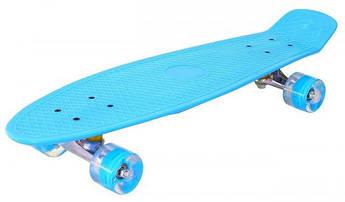 Детский скейт пенни-борд на подшипниках, антискользящий пластик, алюминиевая подвеска (Светло-голубой)