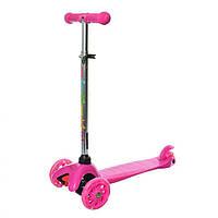 Детский самокат 3-х колесный с регулировкой руля (Розовый)