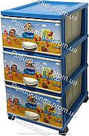 Пластиковый комод с детским рисунком на 3 ящиками Пляж Elif  Турция
