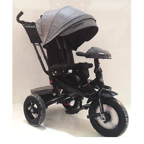 Велосипед-коляска дитячий триколісний з поворотним сидінням Turbo Trike M 4060HA-19T сірий твід **
