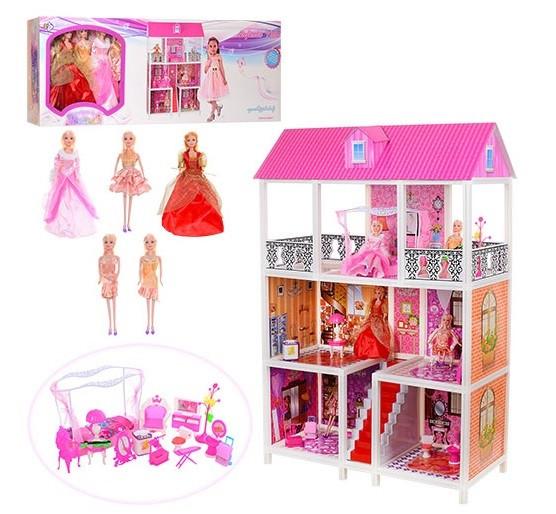 Кукольный домик для Барби 66885. Трехэтажный. 5 кукол