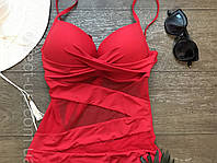 Красный слитный купальник с пушап, фото 1
