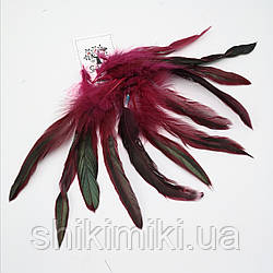 Перья натуральные фазана №2, бордо