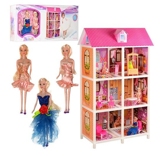 Кукольный домик для Барби 66886. Трехэтажный. 3 куклы
