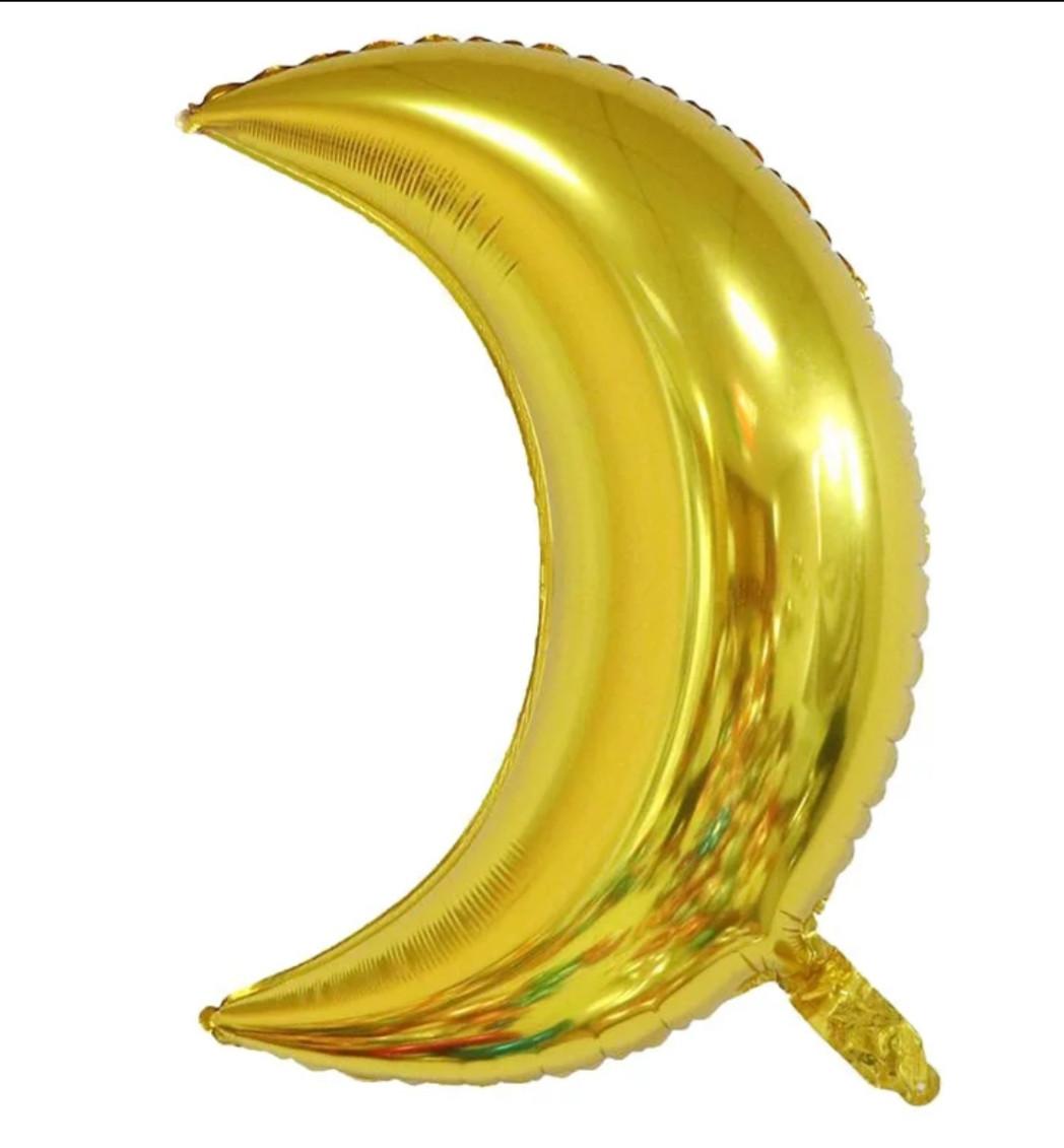 Фольгированный воздушный шар луна маленькая золото 45 см
