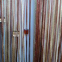 Штора нити люрекс радужная с стеклярусом 2.8 м на 3 м коричневый/золотой/бежевый