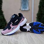 Женские кроссовки Adidas Falcon (черно-пудровые), фото 4