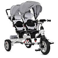 Детский трёхколёсный велосипед для двойни, резиновые камерные колеса, стальная рама