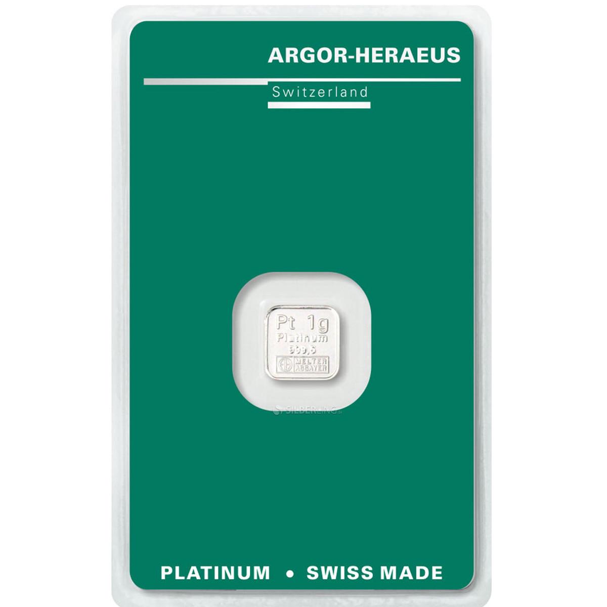 Слиток платины 1 грамм Argor-Heraeus (НОВЫЙ)