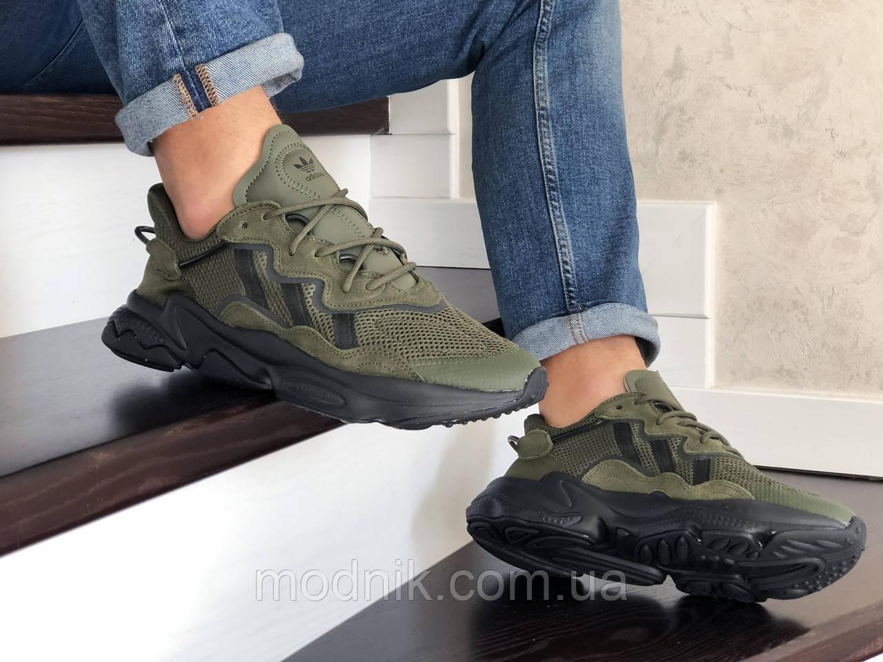 Мужские кроссовки Adidas Ozweego TR (темно-зеленые) - весна-осень