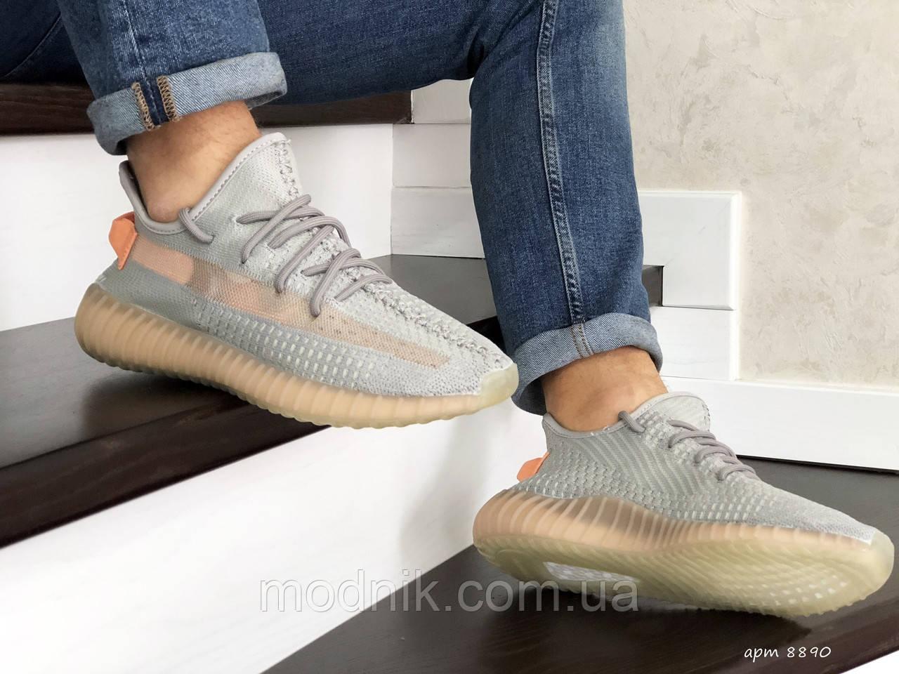 Мужские кроссовки Adidas x Yeezy Boost (серо-персиковые)